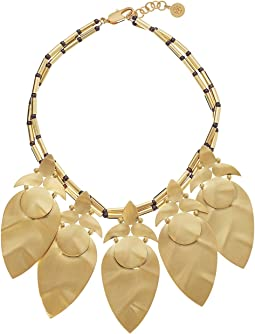 Tory Burch - Hammered Metal Leaf Short Necklace