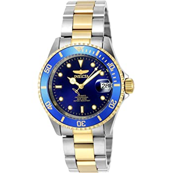 Invicta Men's Pro Diver 40mm Steel and Gold Tone Stainless Steel Automatic Watch with Coin Edge Bezel, Two Tone/Blue (Model: 8928OB)