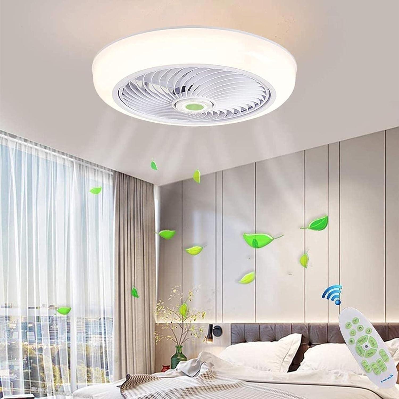 SpiceRack Lámpara de sobremesa Dormitorio, Ventilador de Techo con iluminación y Control Remoto Luz de Techo LED Regulable 36W Ventilador de Techo silencioso Candelabro Ventilador Invisible
