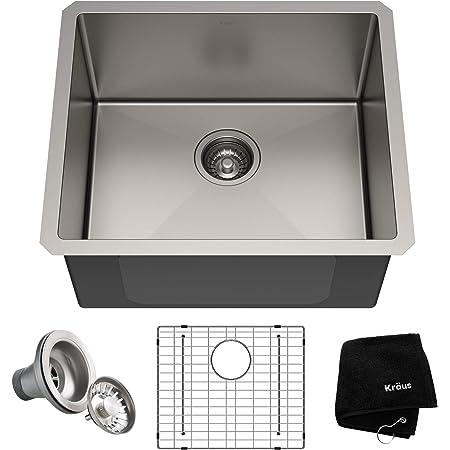 Kraus KHU101-21 Standart PRO 16 Gauge Undermount Single Bowl Set (4 Item Bundle: Sink, Bottom Grid, Drain Assembly, Kitchen Towel), 21 Inch, Stainless Steel