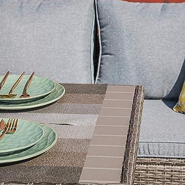 JOIVI Patio Furniture Set, 7 Piece Patio Dining Sofa Set, Outdoor Sectional Sofa Conversation Set All Weather Wicker Rattan C