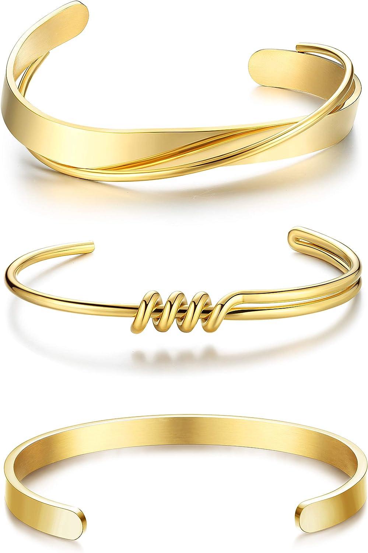 IRONBOX 3Pcs Gold Plated Sliver Cuff Bracelet for Women Men Friendship Bracelets Stainless Steel Open Gold Cuff Bangle Bracelet Set