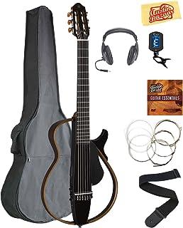 Yamaha SLG200N Nylon String Silent Guitar - Trans Black Bundle with Gig Bag, Headphones, Tuner, Strap, Strings, Austin Bazaar Instructional DVD, and Polishing Cloth