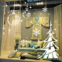 Dnven (48w X 32h) Ornaments Christmas Shining Balls Trees with Snowflakes Decorative Wall Stickers Wall Decals Door Window Stickers Glass Decals for Kids Rooms Nursery Living Rooms Bedrooms
