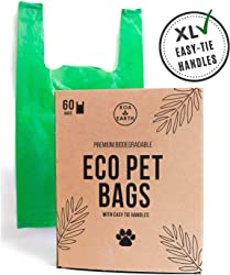Koa Earth Compostable Poop Bags with Easy-Tie Handles, Premium Large Poop Bags for Dogs/Cat Litter Bags, Leak-Proof + Plant-Based, Help Dogs in Need