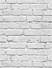 Booming Wall Faux White Painted Brushed Brick Wallpaper,Looks Real Up! White&Grey,11501