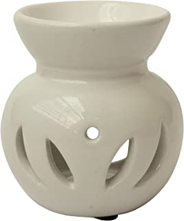 Halloween Day Sale - abhandicrafts - Ceramic Essential Oil Burner, Perfect Handmade Oil Diffuser for Fragrance & Aromatherapy - Great Decoration for Living Room, Balcony, Porch & Garden (White)