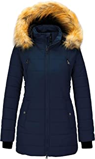 Women's Winter Coat Thicken Outwear Puffer Coats with Removable Fur Hood
