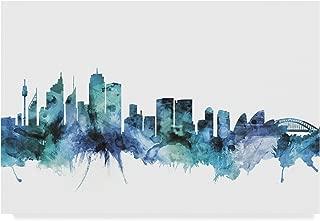 Trademark Fine Art Sydney Australia Blue Teal Skyline by Michael Tompsett, 30x47 Multicolor