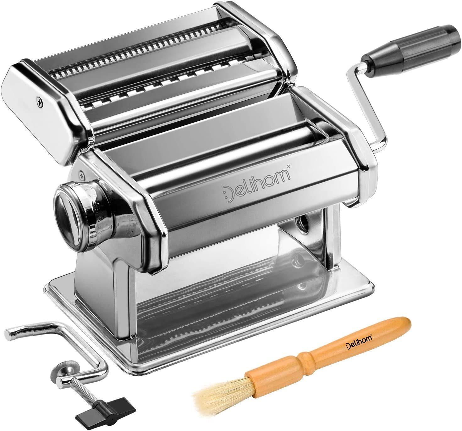 NEW before selling ☆ Delihom Pasta Max 71% OFF Maker - Stainless Cutter Steel Han Machine