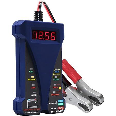 Motopower Mp0514b 12v Digital Batterietester Voltmeter Und Ladesystem Analyzer Mit Lcd Display Und Led Anzeige Blau Auto