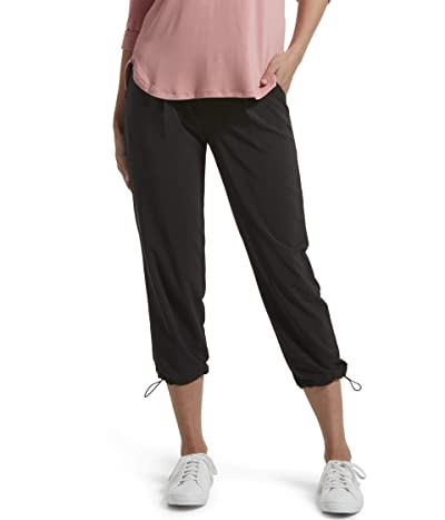 HUE Travel Lightweight Adjustable Hem Cropped Pant (Black) Women