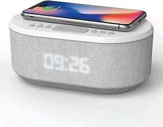 Dawn Radio Alarm Clock with USB Charger, Wireless Charging, Dual Alarm, Bluetooth, LED Display (Original) (Renewed)