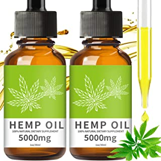 (2-Pack) Hemp Oil for Pain Relief,Help Reduce Stress, Anxiety and Sleep- 5000MG Hemp Oil Drops