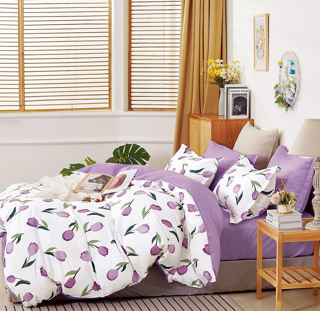 Emilee Translated service Purple Tulip 100% Cotton Queen F Reversible Set Comforter