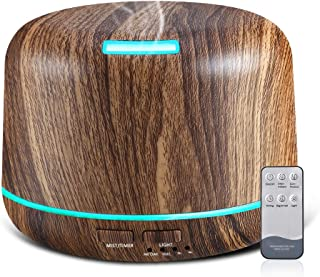 Essential Oil Diffuser 300ml, Wood Grain Aromatherapy Diffusers for Essential Oils with Remote, Timer, Auto Shut-Off and 7 LED Light Change for Office Home Bedroom Living Room