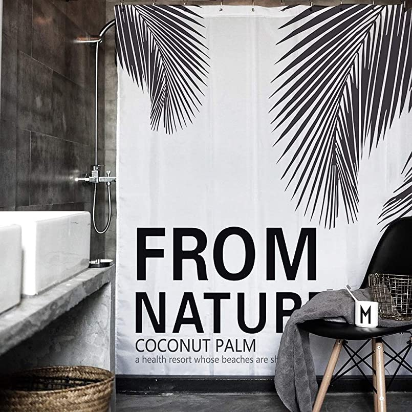 できる医療過誤美しいアートリーフ柄、ホテル/ファミリーバスルームのシャワーカーテン、モダンなミニマリストの北欧スタイル、ポリエステル素材、防水/環境、ギフトフック インストールが簡単 (Size : 180*200cm)