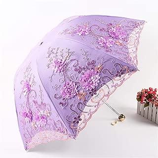 AUWANGAOFEI Embroidery Lace Vinyl Double Folded Umbrella Collapsible Dual UV Barometer (Color : Purple, Size : 8K)