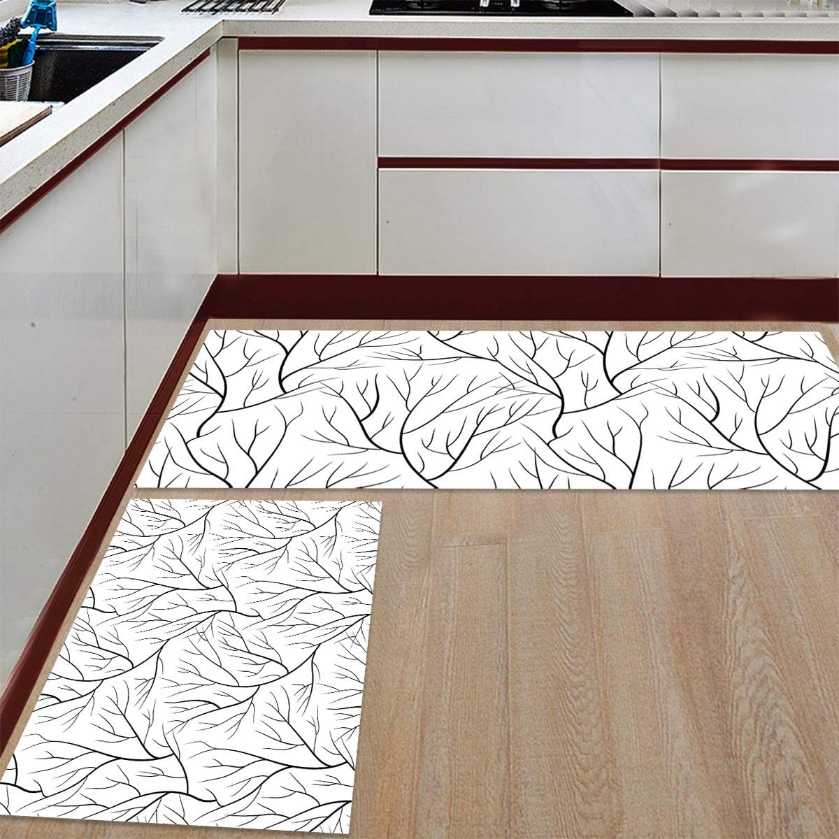 Advancey 2 Pieces In a popularity Anti-Slip Kitchen Bran Mats Trees price Forest Black