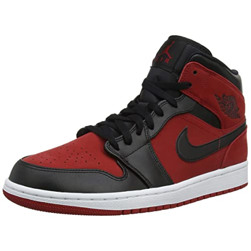 3aa9372cce9 Nike Jordan Mens Air Jordan 1 MID Synthetic Leather Gym Red Black Trainers  10.5 US