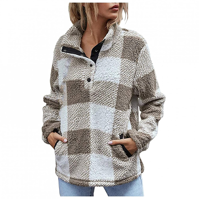 Padaleks Women Fall Tops Winter Pullover Button Long Sleeve Plaid Soft Fleece Jackets Sweaters Outwear with Pocket