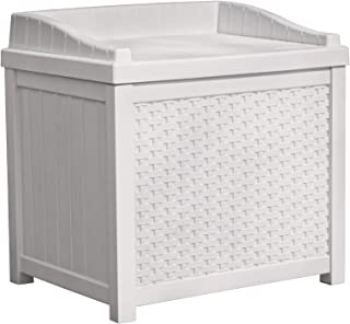Suncast Small Deck Box Lightweight Resin Indoor/Outdoor Storage Container for Seat..