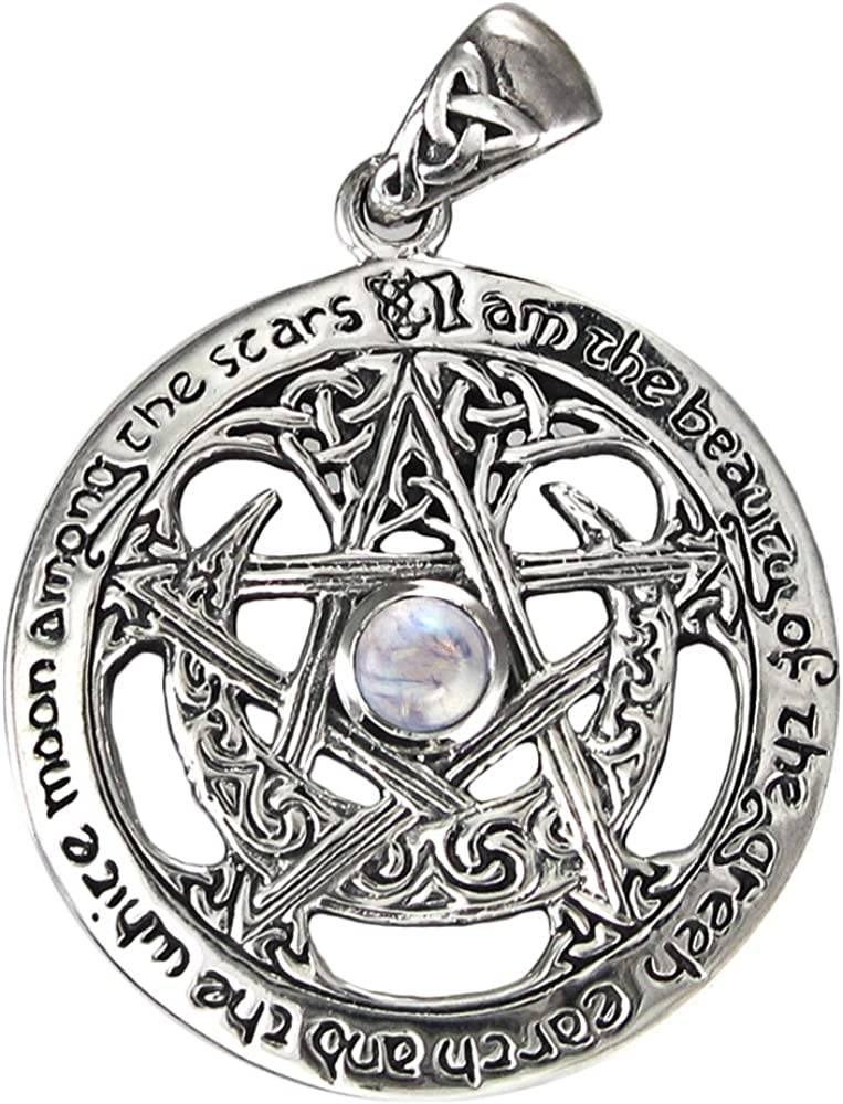 shopping Sterling Silver Large Moon Goddess Sale price Pentacle Natur Wiccan Pendant
