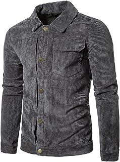 Pivaconis Mens Vintage Corduroy Slim Fit Workwear Trucker Jackets