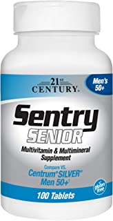 21st Century Sentry Senior Men 50Plus Tablets, White Unscented 100 Count