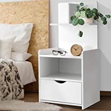 Artiss Wooden Bedside Table Bedside Drawer Shelves Timber Nightstand Sofa Side Table, White