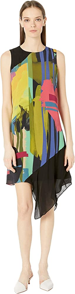 Abstract Paint Asymmetrical Dress