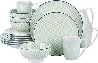 vancasso, série Midori, Service de Table, 16 pièces pour 4 Personnes, en Porcelaine, Style Japonais
