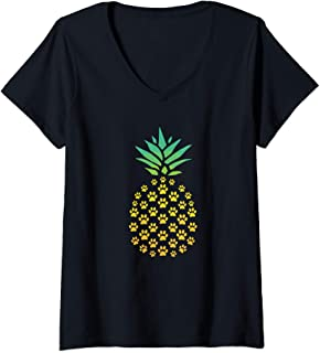 Womens Pineapple Cat Paw Print - Funny Hawaiian Tropical Gift V-Neck T-Shirt