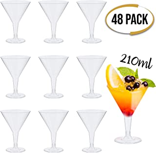 48 Plástico Desechable Vasos De Martini, Transparentes 210ml - Durable Reutilizable Reciclable - Copas de Martini, Vasos de Cóctel para Celebración Fiestas, Cumpleaños, Navidad, Año Nuevo.