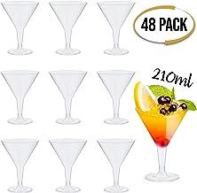 48 Premium Einweg Plastik Martini Gläser, 210 ml - Klares Polystyrol, Dauerhaft & Unzerbrechlich - Wiederverwendbar Recycelbar -Kunststoff Cocktailgläser für Partys, Geburtstage, Weihnachten, Neujahr