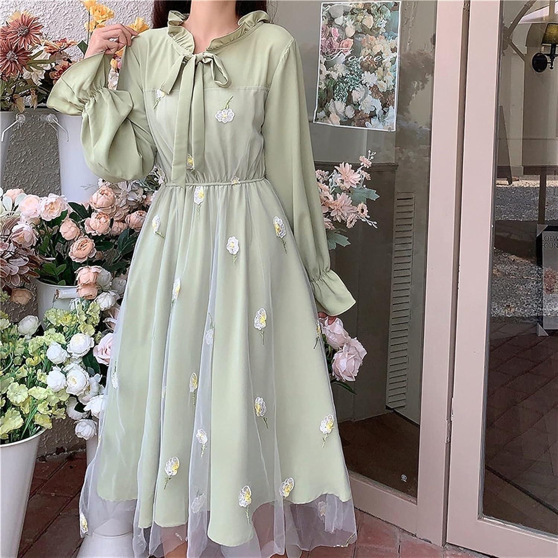 BXSM Sweet and Lovely Lotus Leaf Long Sleeve Lolita Dress Waist Down Slim Dress Hem Wrapped Lace Bubble Skirt Dress (Color : Green)