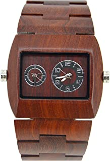 Bewell W021C Dual Time Zone Analog Casual Wooden Watch for Men, Red Rectangle Luminous Quartz Wristwatch
