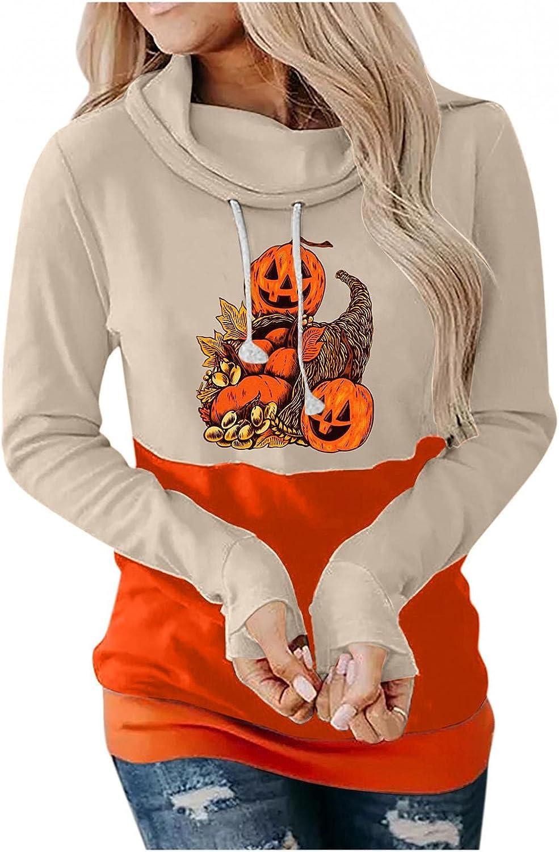 Women's Cowl Neck Halloween Black Cat Graphic Print Hoodies Sweatshirts Casual Long Sleeve Pullover Hooded Sweater Tops