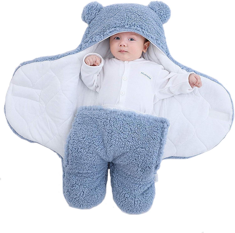Yanding Saco de dormir envuelto para bebé, forma de oso de peluche, adecuado para bebés de 0 a 6 meses, mantas de felpa unisex, fácil de limpiar (1 a 3 meses, azul)