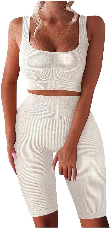 Womens Tops, TIK Tok Leggings,Women's Workout Seamless Ribbed Crop Sleeveless High Waist Shorts Yoga Outfits Sets
