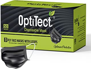 OptiTect 50 pcs disposable face mask black a 3 Ply face mask with comfortable ear loop and nose clip on sealed box - dispo...
