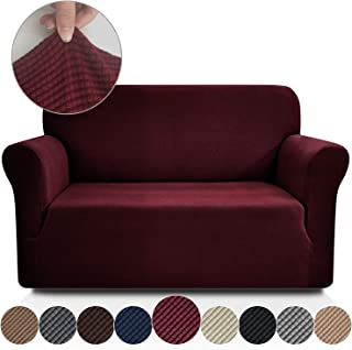 Rose Home Fashion RHF Jacquard-Stretch Loveseat Slipcover Slipcovers for Couches and Loveseats, Loveseat Cover&Couch Cover for Dogs, 1-Piece Sofa Protector(Loveseat: Burgundy)