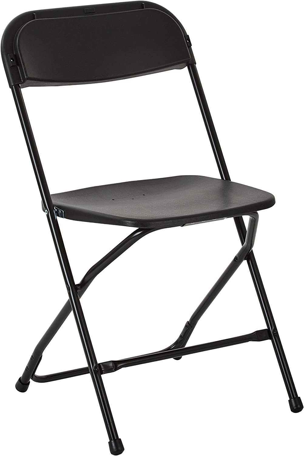 Work Smart RC883A4 Plastic Seat and Back Stacking Folding Chairs with Steel Frame, 4 Pack, Black