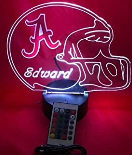 Alabama Crimson Tide NCAA College Football Helmet Light Up Lamp University of Alabama Table Lamp LED, Our Newest Feature - It's Wow, with Remote 16 Color Options, Dimmer, Free Engraving, Great Gift