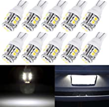 License Plate Lights,cciyu Super White T10 10-3528-SMD LED Light bulbs,168 Bulb 194 LED Bulb,10Pack