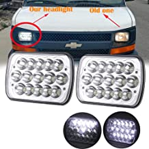 AMUNIESUN 2PC 45w Rectangle 7x6 5x7 Led Headlights 6052 6054 H5054 H6054 Hi/Low Sealed Beam Replacement For Chevy Express Cargo Van 1500 2500 3500 Jeep Wrangler Toyota Pickup Dodge Ram Ford F250 E350