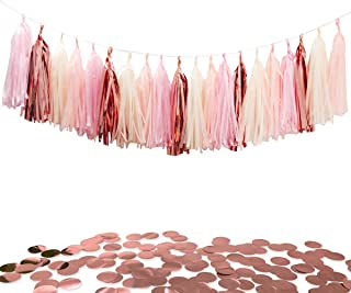 Tissue Paper Tassels Party Garland, 20pcs Rose Gold Foil Pink Blush Yellow Tassel 10g Rose Gold Confetti Gift for Baby Girl Showers Birthday Weddings Bridal Shower Decorations