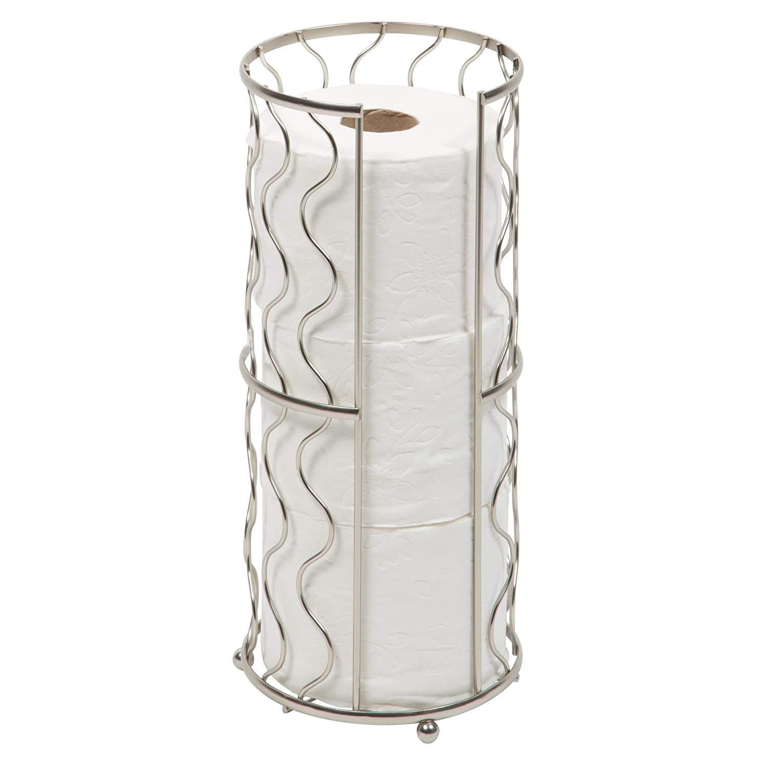Richards Homewares Toilet Paper Storage Reserve - Free Standing - Modern Bathroom Space Saver - Holds 3 Standard Rolls – Satin Nickel