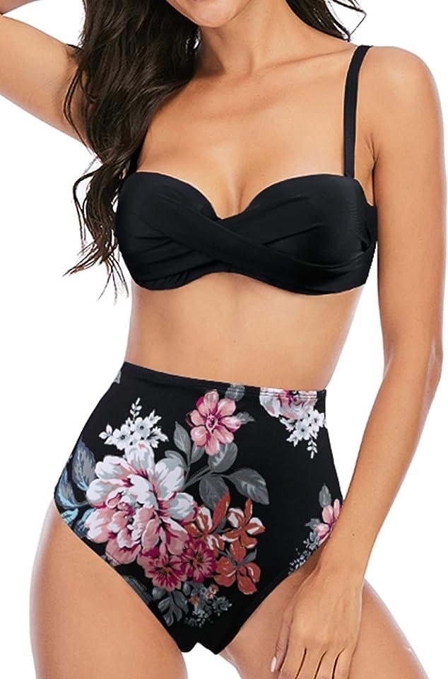 Bikini für Damen High Waist Badeanzug Bauchweg Zweiteiliger Bademode Rüschen Badeanzüge 2/3 Stück Schwimmanzug Badebekleidung Triangel Bikinis Set