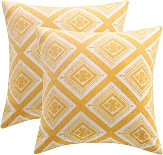 JHKHJYY Decorative Throw Pillow Covers Set of 2 Cotton Hypoallergenic Pillow Cover Pillows Case Boho Throw Pillows Outdoor and Indoor Double-Sides Embroidered Cushion Cover (Yellow-1, 18 x 18 inch)